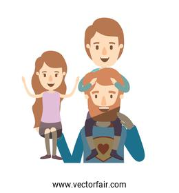 light color shading caricature half body super dad hero with girl on his hand and boy on his back