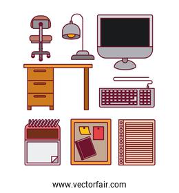 white background with color silhouette elements office desk and tech set