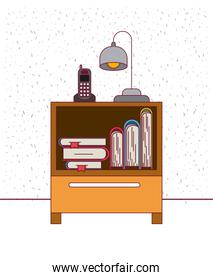 color background with sparkles nightstand with phone lamp and books