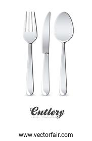 Illustration of cutlery spoon knife and fork isolated on white b