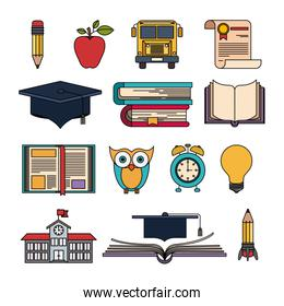 color set college education items with educational elements