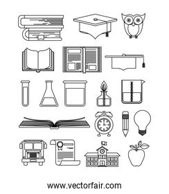 monochrome silhouette set college education items with educational elements