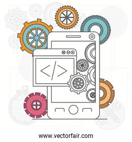 background with smartphone apps and tools for developers