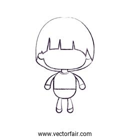 monochrome blurred silhouette of faceless little boy with mushroom haircut