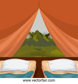 colorful background interior camping tent with double pad and landscape scenary outside