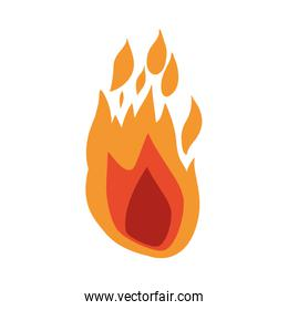 white background with hand drawn color silhouette of flame