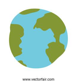 white background with hand drawn color silhouette of world sphere