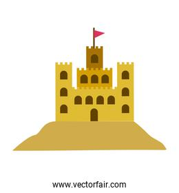 color silhouette with sand castle