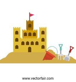 color silhouette with sand castle and set tools for playing in sand
