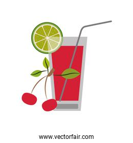 color silhouette of refreshing drink with lemon slice and cherries