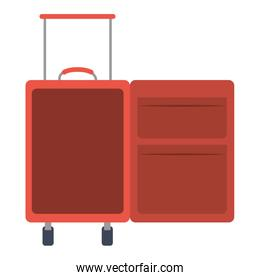 color silhouette with opened empty suitcase of traveler