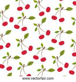 white background with pattern of cherries