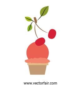 colorful silhouette of ball ice cream in cup with cherry and without contour