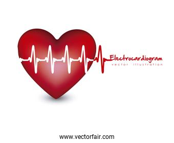 Illustration of heart with heartbeat electrocardiogram
