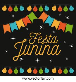 colorful poster of nightly background of festa junina
