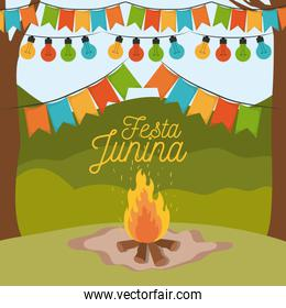colorful poster festa junina with background outdoors and wood fire and decorative festoon and holding lights