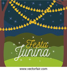colorful poster festa junina with nightly background outdoors and decorative lights