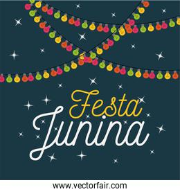 colorful poster festa junina with starry background and decorative lights
