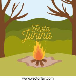 colorful poster festa junina with background outdoors and wood fire