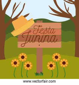 colorful poster festa junina in wooden fence with background outdoors