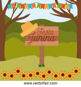 colorful poster festa junina in wooden fence with background outdoors with sunflowers and colored festoons
