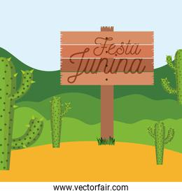 colorful poster festa junina in wooden fence with background outdoors with cactus field