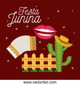 colorful poster festa junina with starry background and wooden railing with cactus with hat