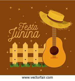 colorful poster festa junina with starry background and wooden railing with guitar and hat