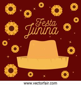 colorful poster festa junina with starry background