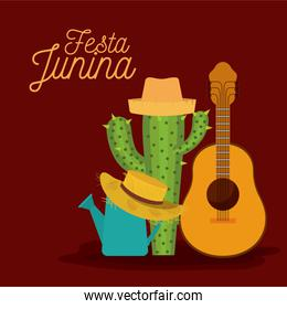 colorful poster festa junina with background of guitar and cactus and hat
