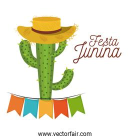 colorful poster festa junina with white background of cactus with hat and festoons