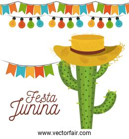 white background poster festa junina with of cactus with hat and festoons and decorative lights