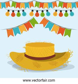 colorful poster festa junina with starry background with hat and pattern of sunflowers