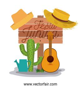 white background poster with wooden fence of festa junina with of cactus guitar and hat and watering can