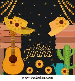 nightly background poster of festa junina with of cactus guitar and hat and sunflowers