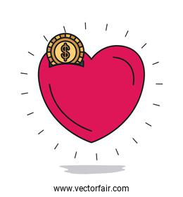 white background with money box in heart shape with golden coin