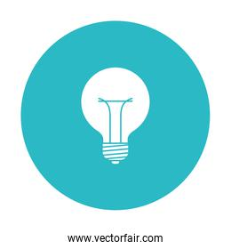 circle light blue with bulb light icon