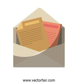 colorful silhouette of opened envelope mail without contour and shading