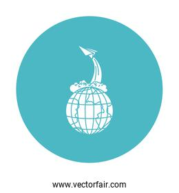 circle light blue with earth globe and paper plane flying
