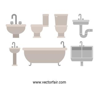 colorful set of bathroom interior objects with tubing