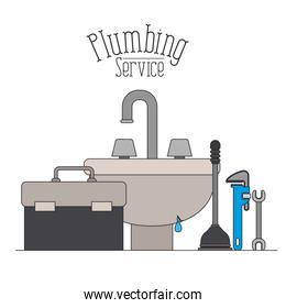 color poster of handwash bathroom with dripping pipes plumbing service
