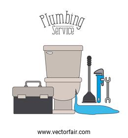 color poster of front view sanitary dripping plumbing service