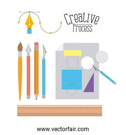 colorful background with tool elements to design and sheet with geometric forms and scalpel creative process