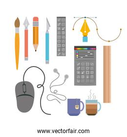 colorful background instruments to hand and multimedia design