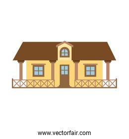 light color silhouette of country house with railing and attic