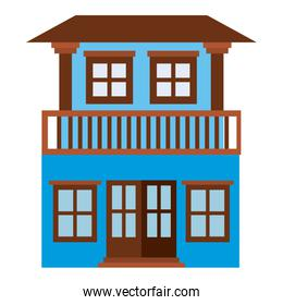 light color silhouette of house with two floors and balcony