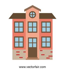 light color silhouette of facade house of two floors with attic