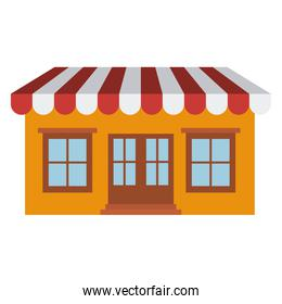light color silhouette of store with awning
