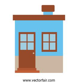 light color silhouette of small house with chimney