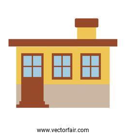 light color silhouette of small house facade with chimney